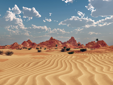 Desert landscape with mountains