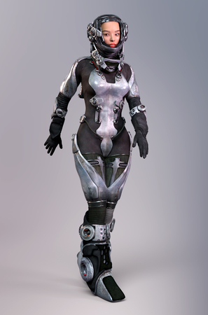 Female astronaut in futuristic outfit Stock Photo