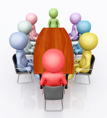 Conference table and 3D figures Stock Photo