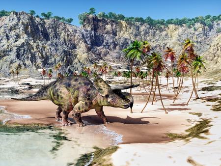 Dinosaur Nasutoceratops at the beach