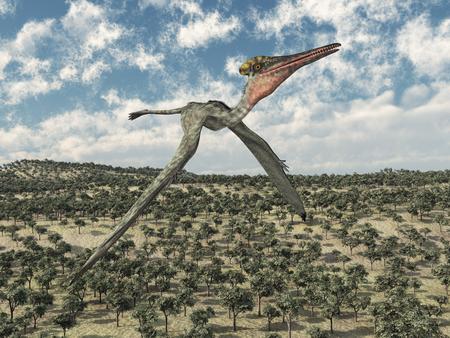 Pterosaur Pterodactyl flying over a landscape