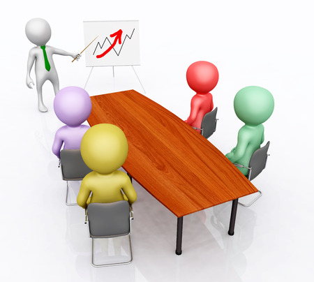 Business presentation with 3D figures Stock Photo