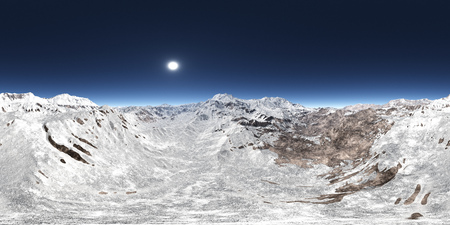 Spherical 360 degrees seamless panorama with a mountain panorama