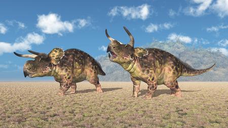 Dinosaur Nasutoceratops in a landscape