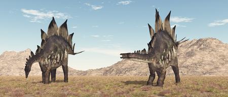 Dinosaur stegosaurus in a landscape
