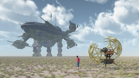 Time traveler with time machine and giant spacecraft in a landscape