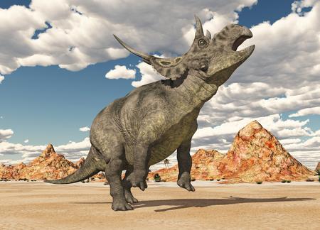 Dinosaur Diabloceratops in a desert landscape