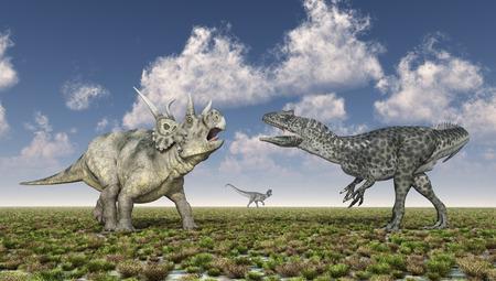 Diabloceratops and allosaurus in a landscape