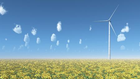 Wind turbine in a field of sunflowers Reklamní fotografie