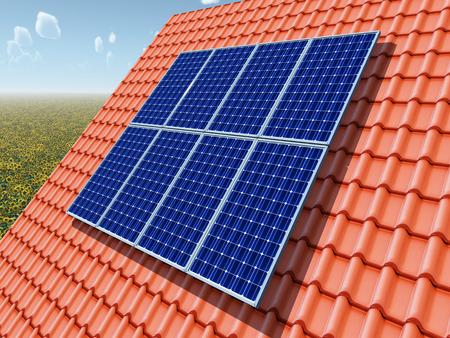 Solar panel on a roof Archivio Fotografico - 124861754
