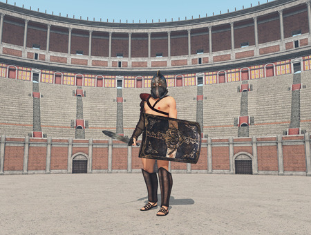 Thracian gladiator at the colosseum in ancient Rome Stock Photo - 124861760