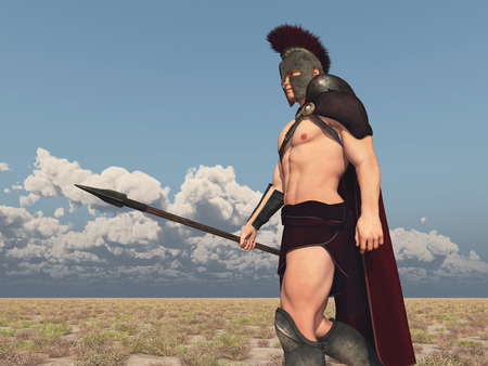 Achilles, Greek hero of the Trojan War, goes to battle against Troy Stock Photo