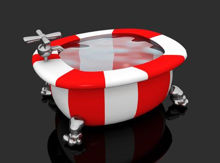 Modern colorful bathtub against a black background Archivio Fotografico - 124861770