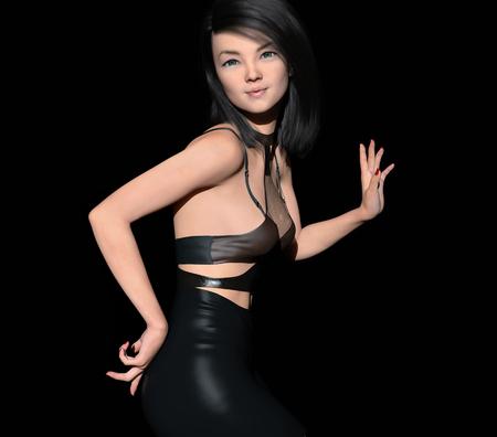 Mujer joven, posar, en, traje