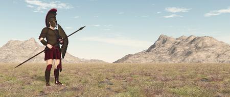 Spartan warrior in a landscape Фото со стока - 124861788