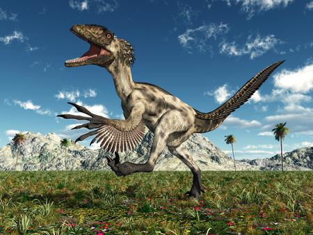 Dinosaur Deinonychus in a landscape