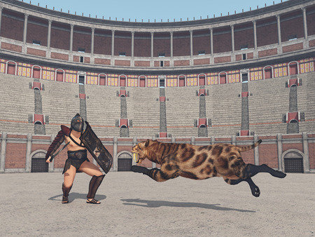 Thracian gladiator and big cat at the colosseum in ancient Rome