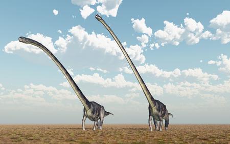 Dinosaur Omeisaurus in a landscape Stok Fotoğraf