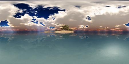 Spherical 360 degrees seamless panorama with an island in the sea Фото со стока