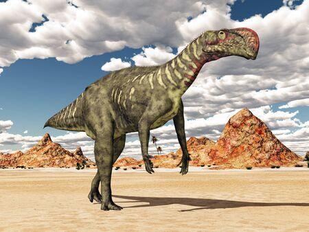 Dinosaur Altirhinus in a desert landscape 스톡 콘텐츠