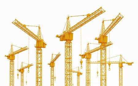 Construction cranes isolated on white background Banco de Imagens