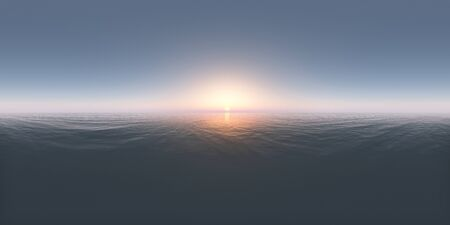 Spherical 360 degrees panorama with a sunset in the open sea