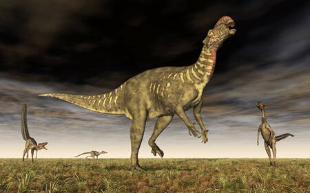 Altirhinus and Velociraptor Фото со стока - 128766938