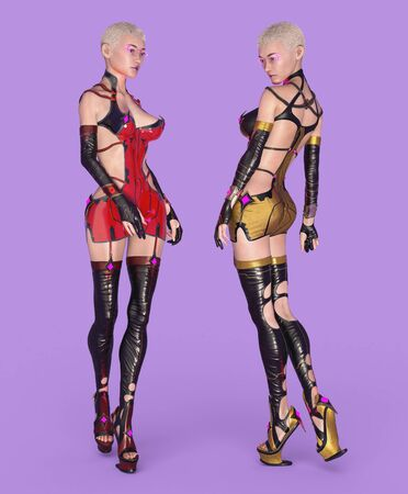 Two women posing in futuristic outfit Фото со стока - 128055494