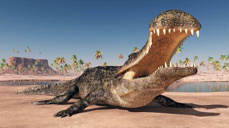 Prehistoric crocodile Sarcosuchus Фото со стока
