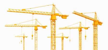 Construction cranes isolated on white background Imagens