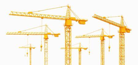 Construction cranes isolated on white background Фото со стока - 128766944