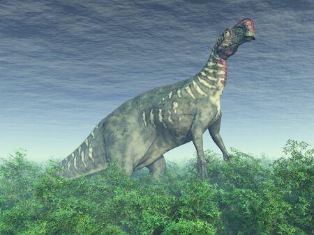 Dinosaur Altirhinus in a forest