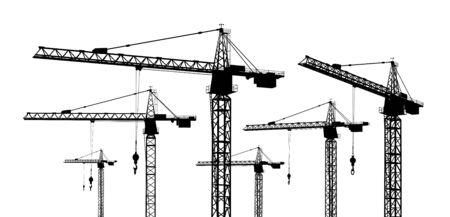Silhouette of construction cranes 版權商用圖片