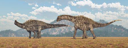 Dinosaur Ampelosaurus in a landscape