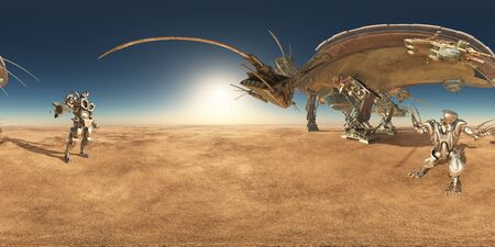 Spherical 360 degrees panorama with huge spacecraft and robots in a desert landscape Banco de Imagens