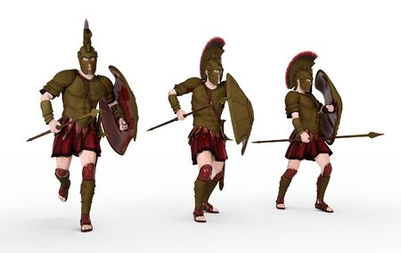 Three Spartan warriors from ancient Greece