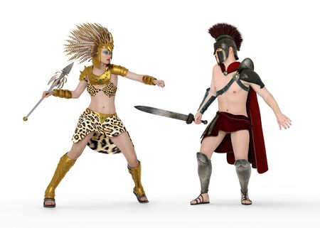 Achilles fights with the Amazon Queen Penthesilea