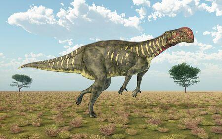 Dinosaur Altirhinus in a landscape