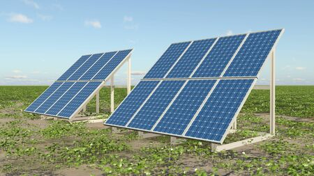 Solar panels in a landscape