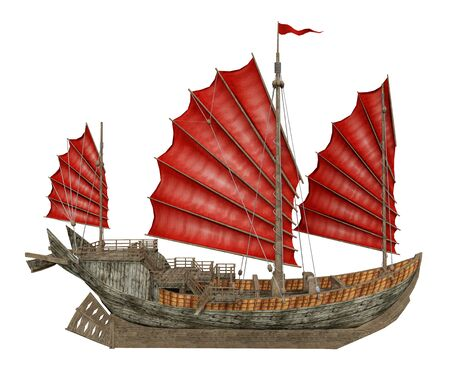 Chinese junk ship isolated on white background
