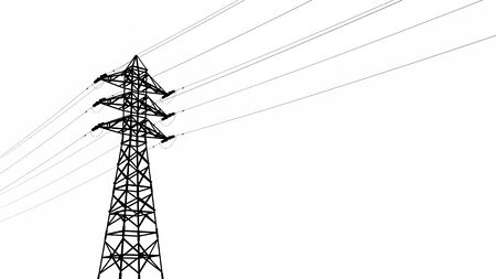 Silhouette of an overhead power line Фото со стока