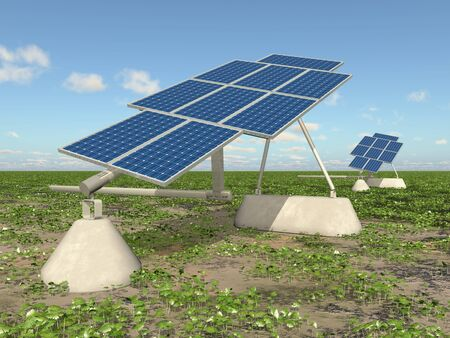 Solar panels in a landscape Фото со стока - 128767065