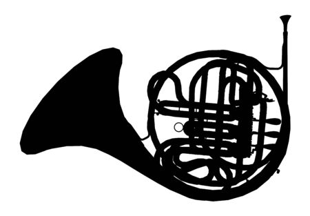 Silhouette of a horn, musical instrument