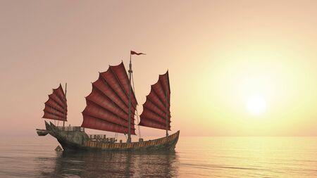 Chinese junk ship at sunset Фото со стока