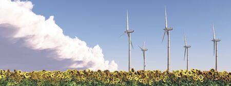 Wind turbines in a field of sunflowers