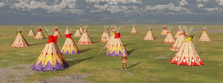 Indian camp in the prairie Stok Fotoğraf - 128767077