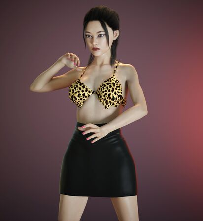 Attractive young woman in sexy outfit