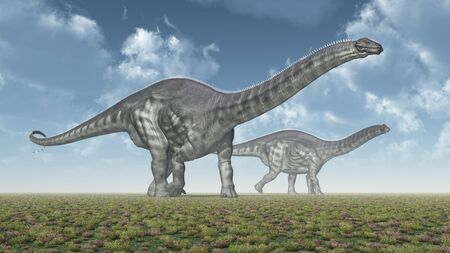 Dinosaur Apatosaurus in a landscape
