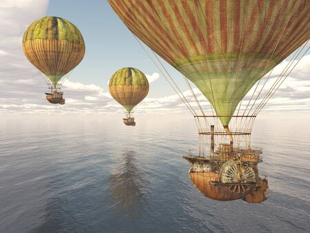 Fantasy hot air balloons over the sea Banque d'images - 131828620