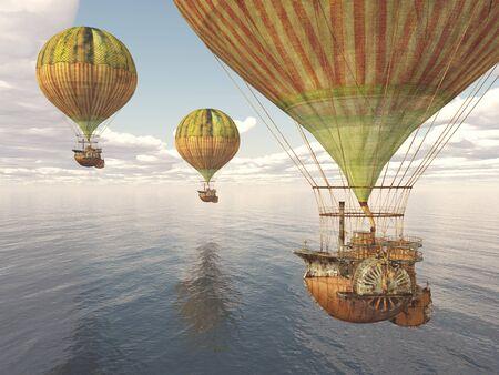Fantasy hot air balloons over the sea